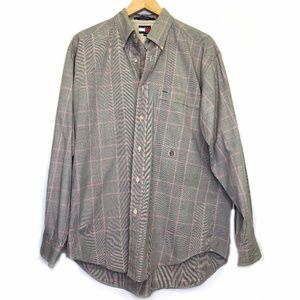 Tommy Hilfiger Tan Red Plaid Crest Logo Shirt M